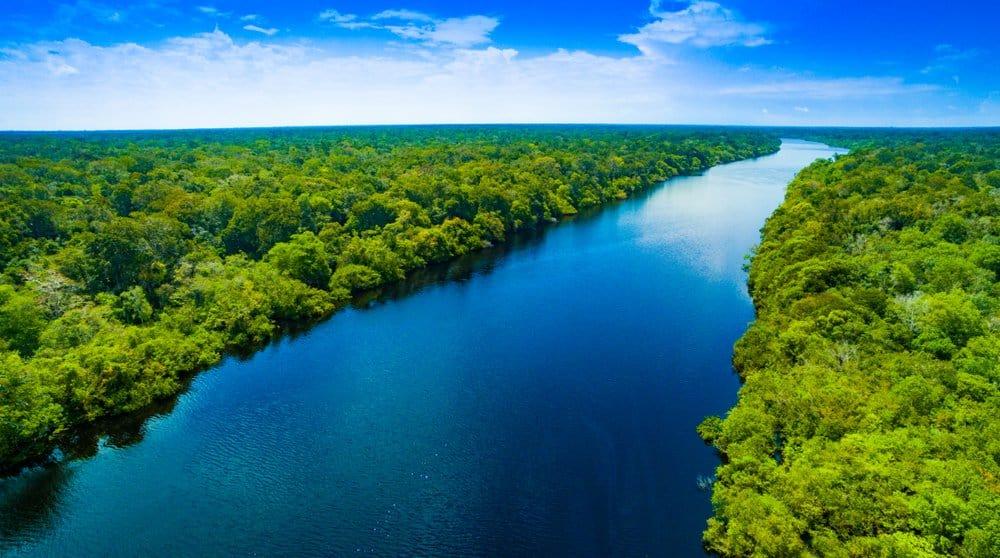 Un ancho río atravesando un bosque verde con nubes blancas en un cielo azul.