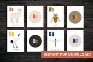 Large Animal + Letter Printable Flash Card Bundle!