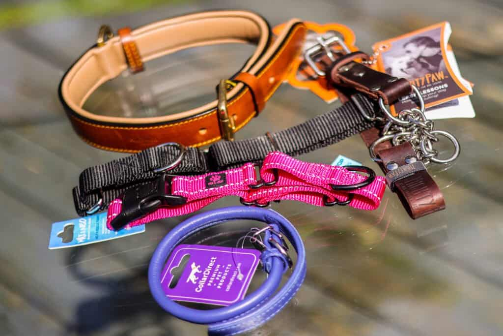 a variety of dog collars we tried and love