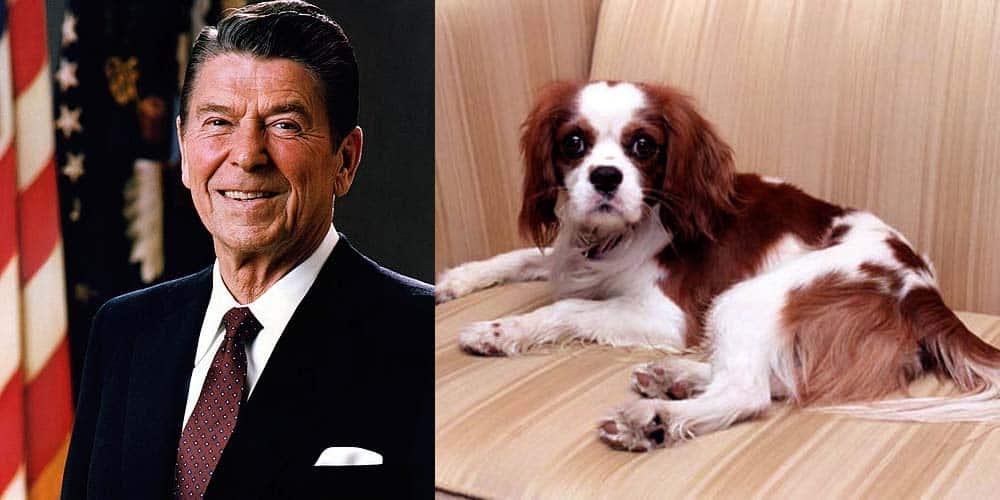 Ronald Regan next to his dog Rex